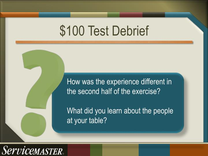 $100 Test Debrief
