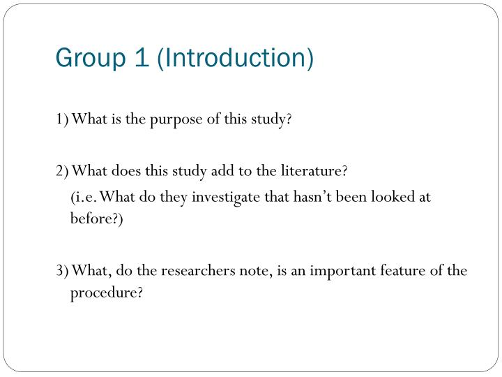 Group 1 (Introduction)