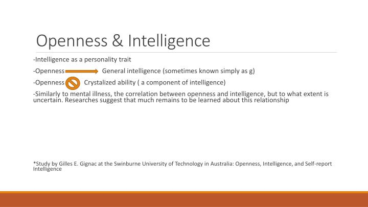 Openness & Intelligence