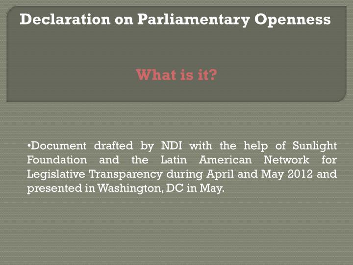 Declaration on parliamentary openness