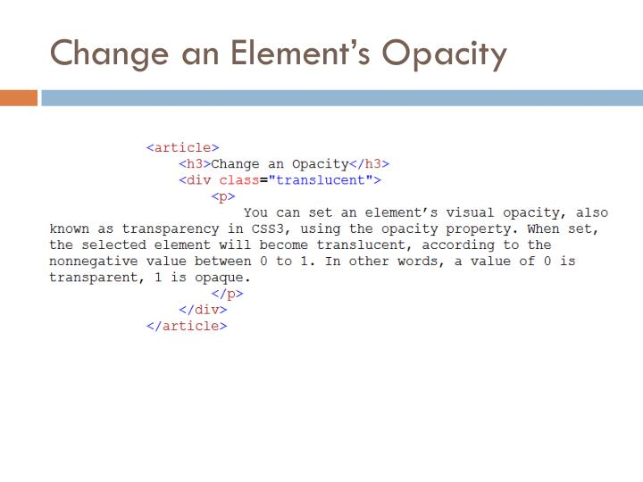Change an Element's Opacity
