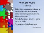 milling to music science