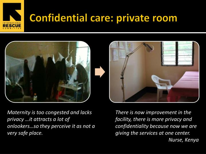 Confidential care: private room