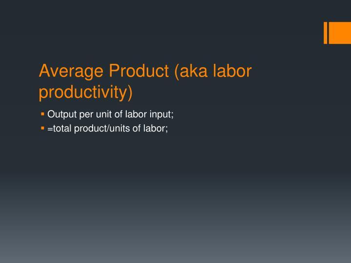 Average Product (aka labor productivity)