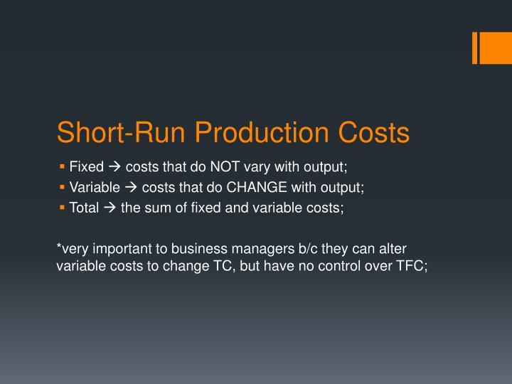 Short-Run Production Costs