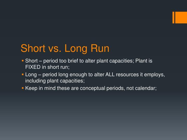 Short vs. Long Run