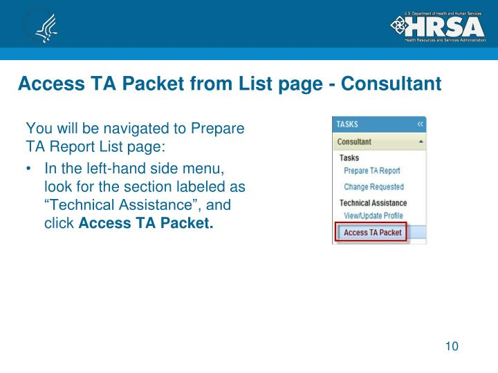 Access TA Packet from List page - Consultant