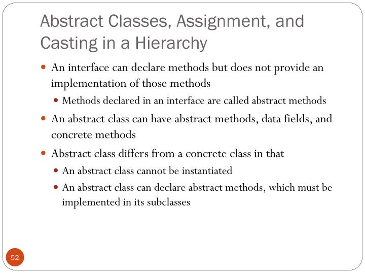 Abstract Classes, Assignment, and Casting in a Hierarchy
