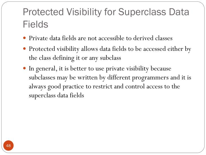 Protected Visibility for Superclass Data Fields