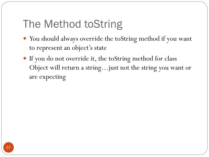 The Method toString