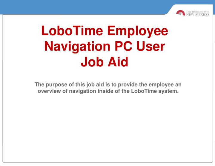 lobotime employee navigation pc user job aid