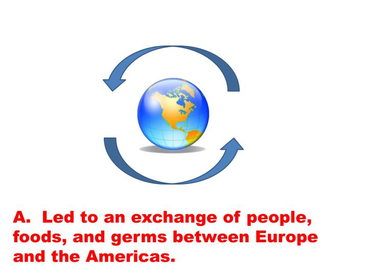 A.  Led to an exchange of people, foods, and germs between Europe and the Americas.
