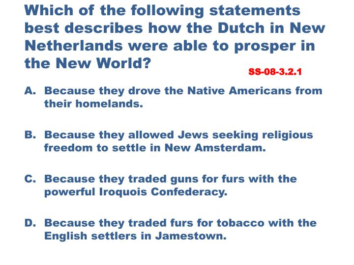 Which of the following statements best describes how the Dutch in New Netherlands were able to prosper in the New World?