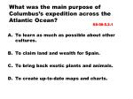 what was the main purpose of columbus s expedition across the atlantic ocean