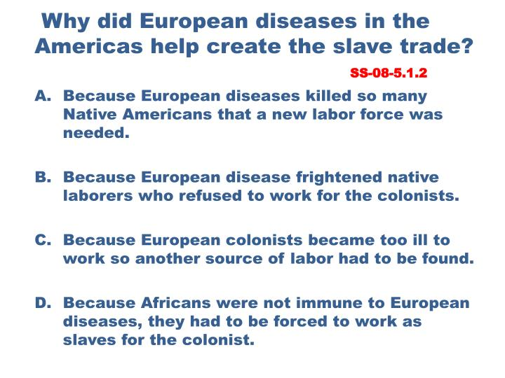Why did European diseases in the Americas help create the slave trade?