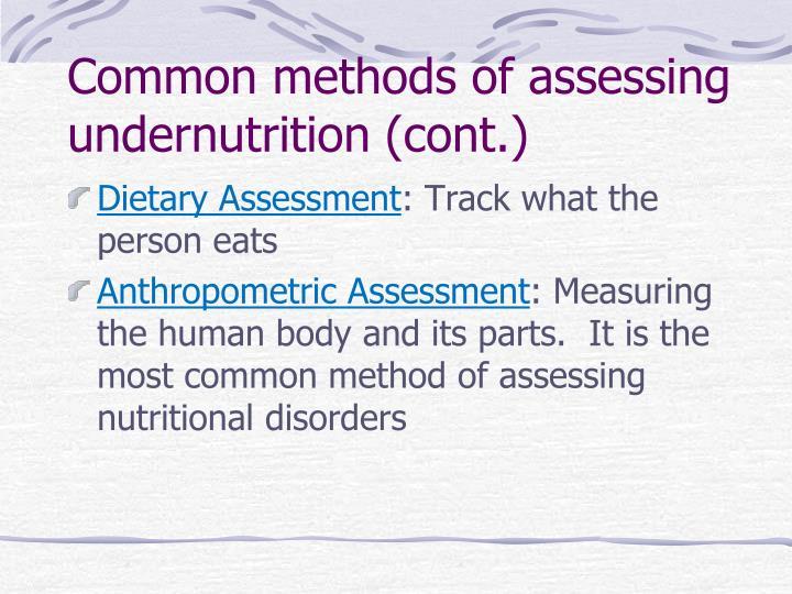 Common methods of assessing