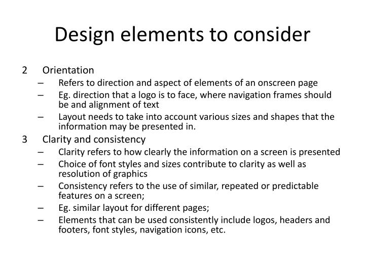 Design elements to consider1