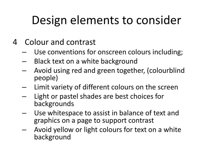 Design elements to consider