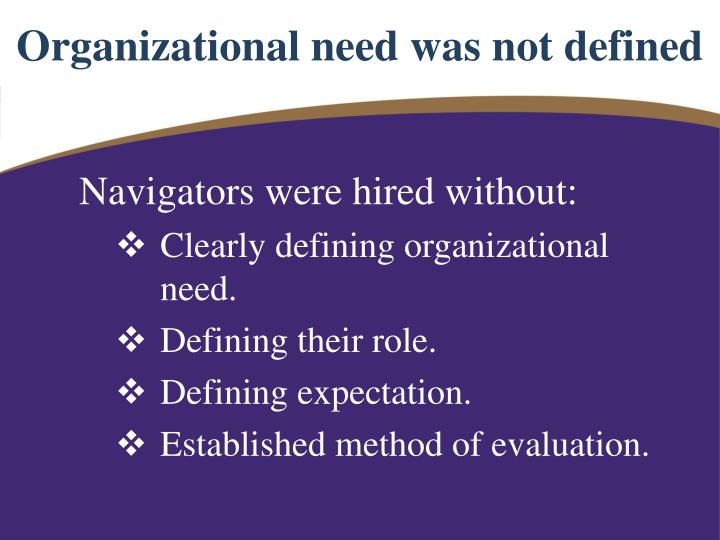 Organizational need was not defined
