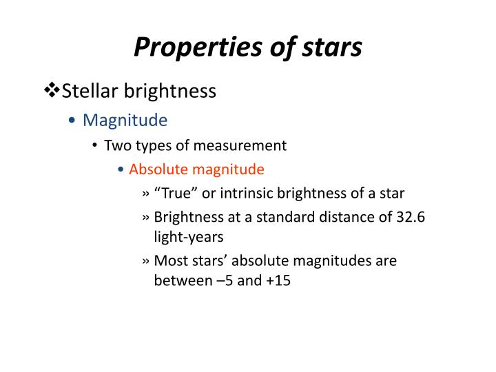 Properties of stars