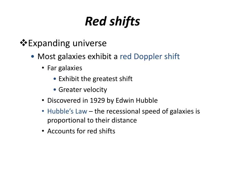Red shifts