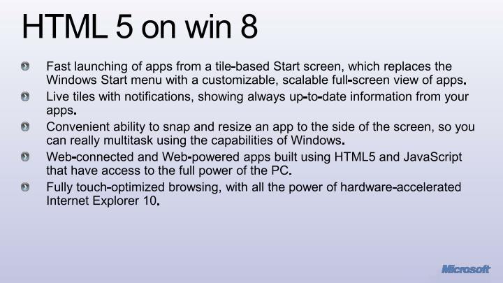 HTML 5 on win 8