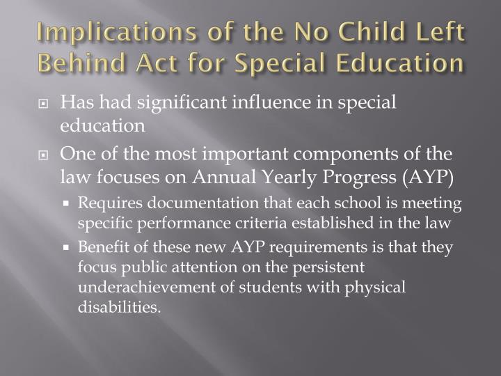 Implications of the No Child Left Behind Act for Special Education