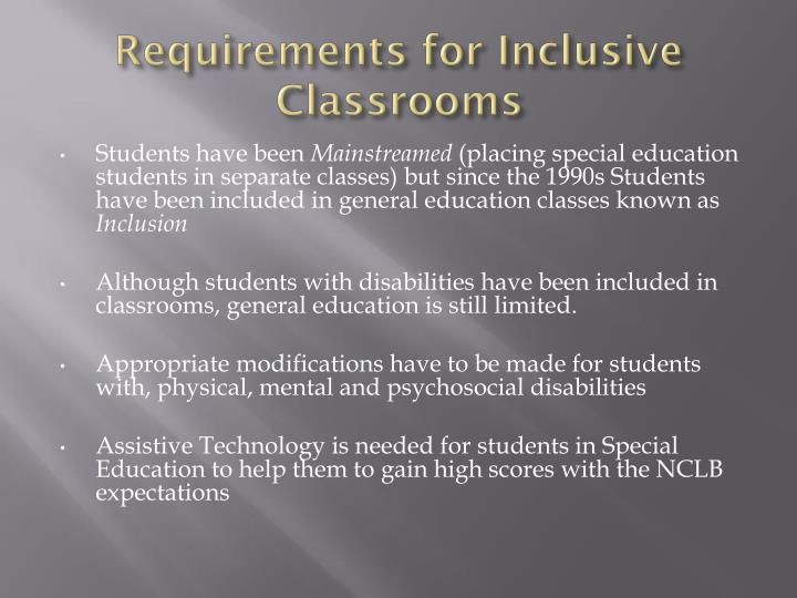 Requirements for Inclusive Classrooms