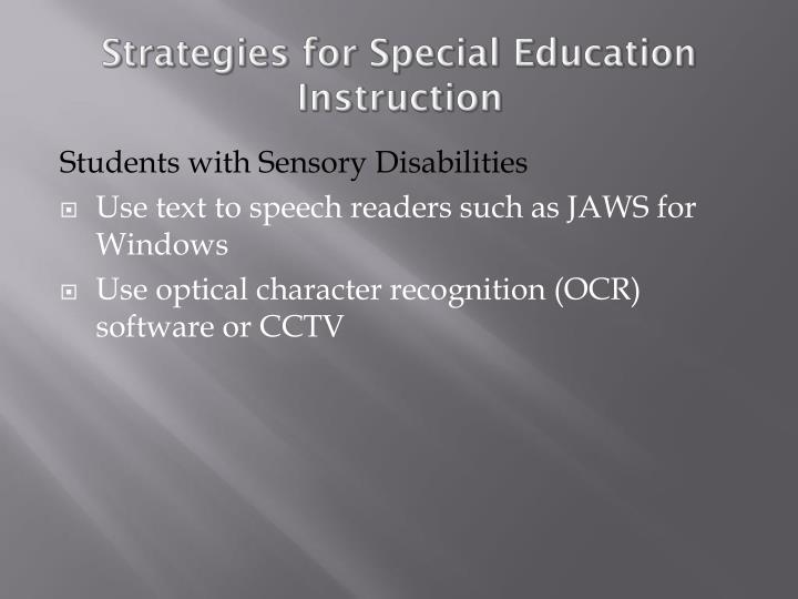 Strategies for Special Education Instruction