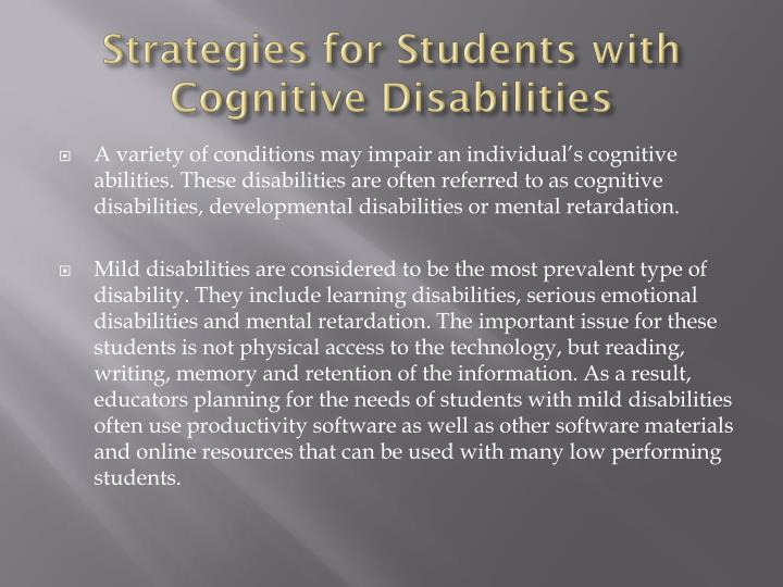 Strategies for Students with Cognitive Disabilities