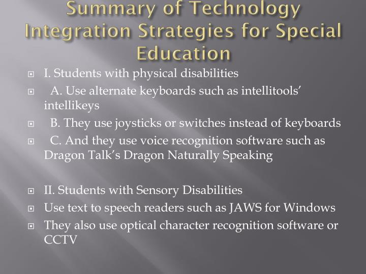 Summary of Technology Integration Strategies for Special Education