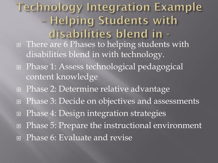 Technology integration example helping students with disabilities blend in