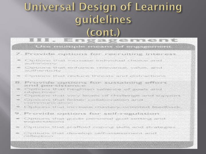 Universal Design of Learning guidelines