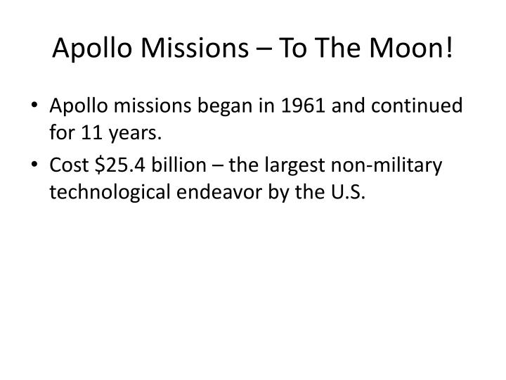 Apollo Missions – To The Moon!