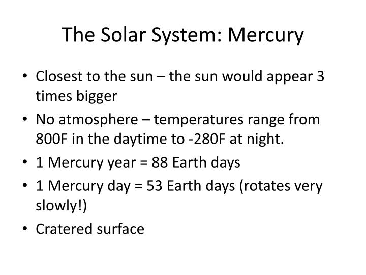 The Solar System: Mercury