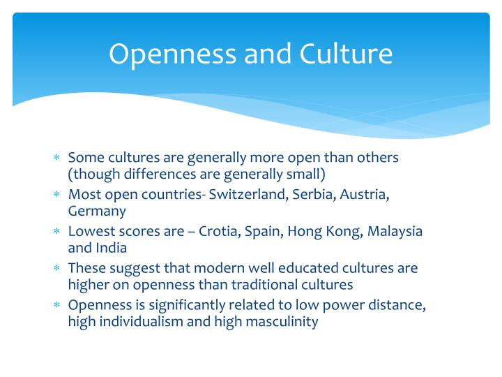 Openness and Culture