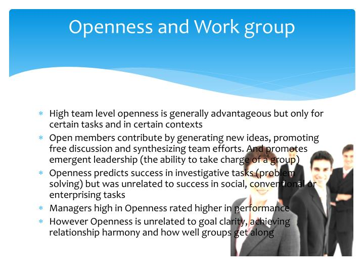 Openness and Work group
