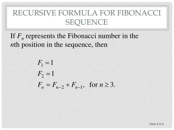 Recursive Formula for Fibonacci Sequence