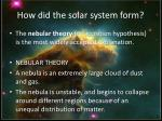how did the solar system form