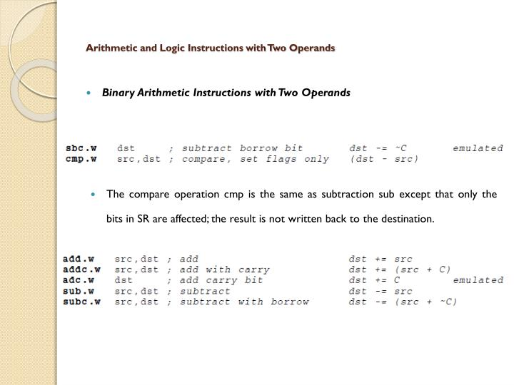 Arithmetic and Logic Instructions with Two Operands