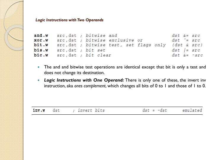 Logic Instructions with Two Operands