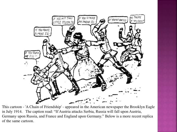 """This cartoon - 'A Chain of Friendship' - appeared in the American newspaper the Brooklyn Eagle in July 1914. The caption read: """"If Austria attacks Serbia, Russia will fall upon Austria, Germany upon Russia, and France and England upon Germany."""" Below is a more recent replica of the same cartoon."""