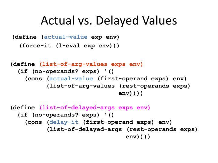 Actual vs. Delayed Values