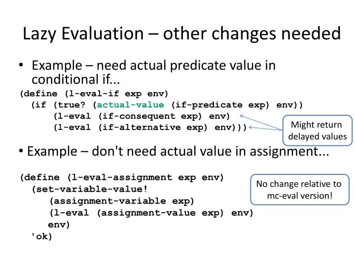 Lazy Evaluation – other changes needed