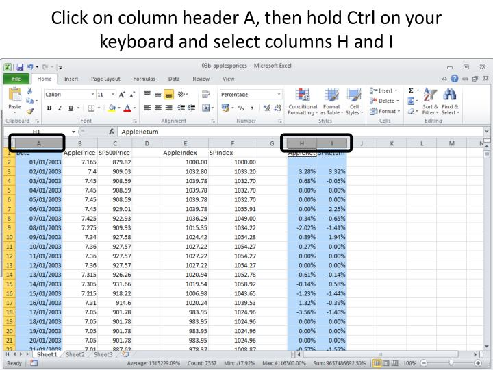 Click on column header A, then hold Ctrl on your keyboard and select columns H and I