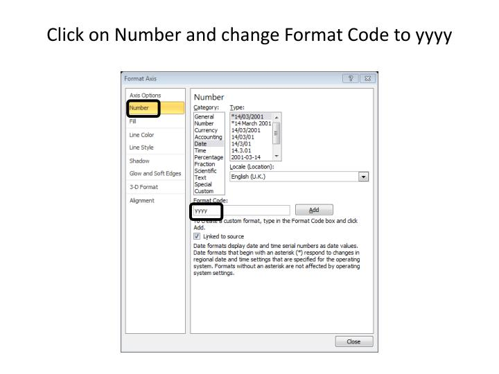 Click on Number and change Format Code to