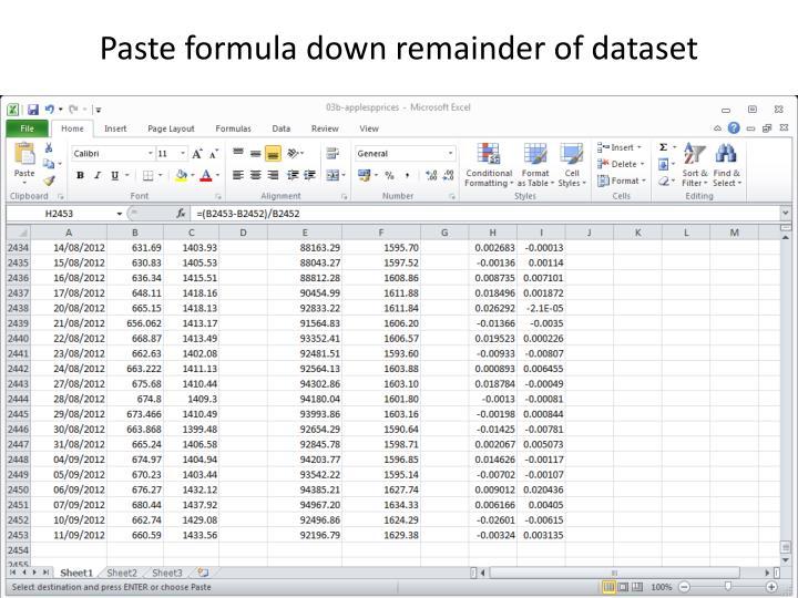 Paste formula down remainder of dataset