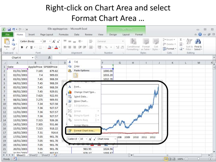 Right-click on Chart Area and select