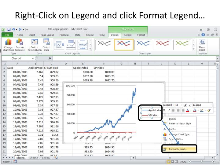 Right-Click on Legend and click Format Legend…