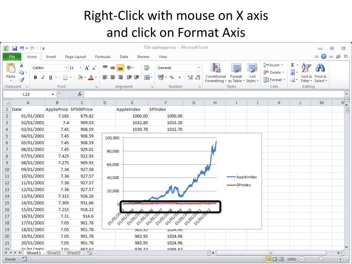 Right-Click with mouse on X axis